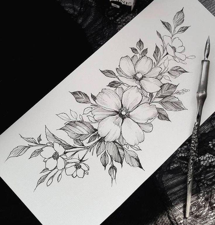 Эскиз тату с цветами в графике