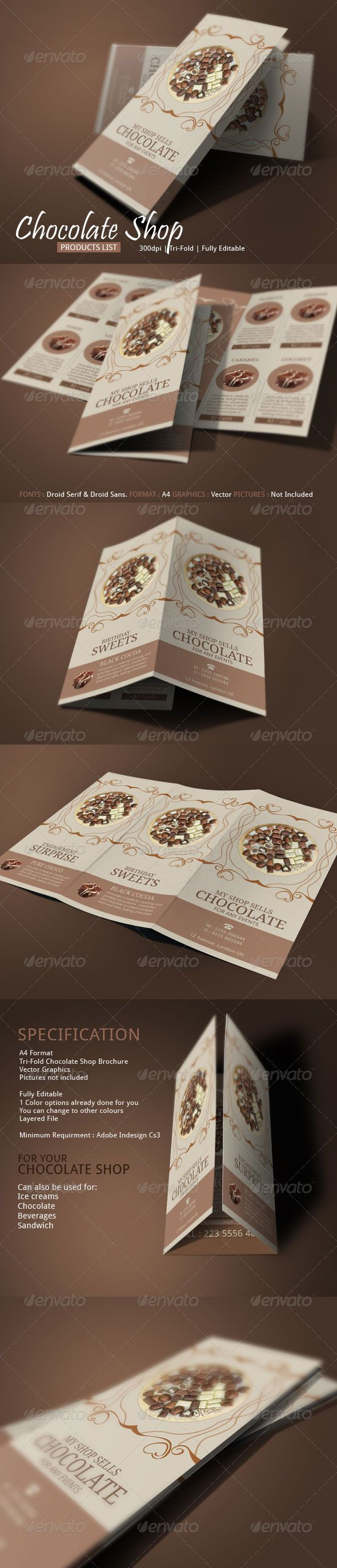 Swiss Chocolate Brochure Template #design Download: http://graphicriver.net/item/swiss-chocolate-brochure-template/7329591?ref=ksioks