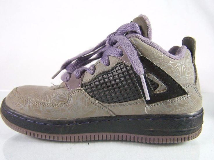 #Nike Air Jordan Fusion #gray and #purple #sporty lace-up #sneakers #shoes #sneaker #shoe with brand name designer label #logo #logos rubber bottoms back heel tabs thick padded tongue man-made synthetic materials and insole #athletic #skateboarding #skater #skateboard #skateboarder #style and black accents in #girls youth size 13 C, excellent used condition…