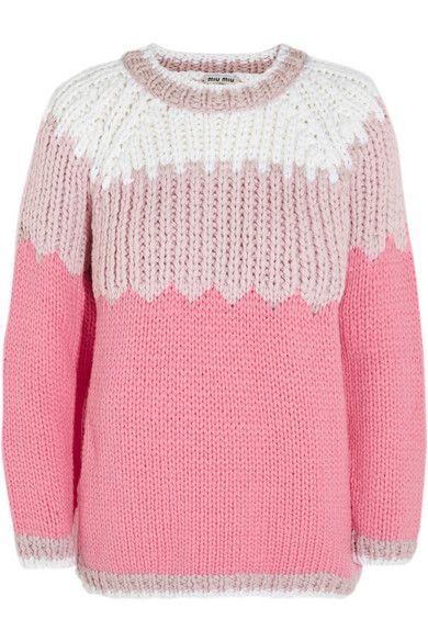 Miu Miu Pink Chunky-knit wool sweater