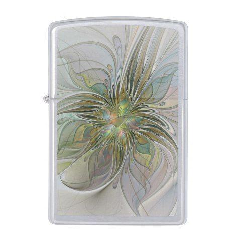 Floral Fantasy Modern Fractal Art Flower With Gold Zippo Lighter