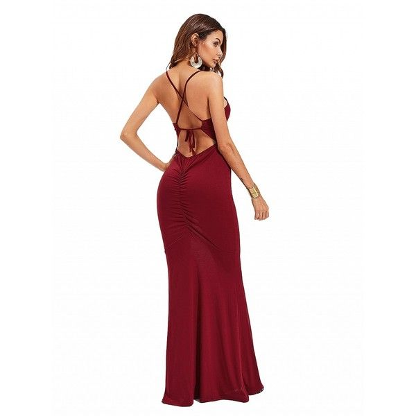 Choies Burgundy Spaghetti Strap Backless Maxi Dress ($21) ❤ liked on Polyvore featuring dresses, red, backless dress, white color dress, white dresses, white backless dress and maxi dress