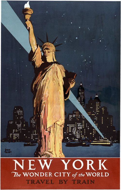 New York — The wonder city of the World. Travel by train. This vintage railroad travel poster features the Statue of Liberty and the New York City skyline. Illustrated by Adolph Treidler, circa 1930. Prints from $15.
