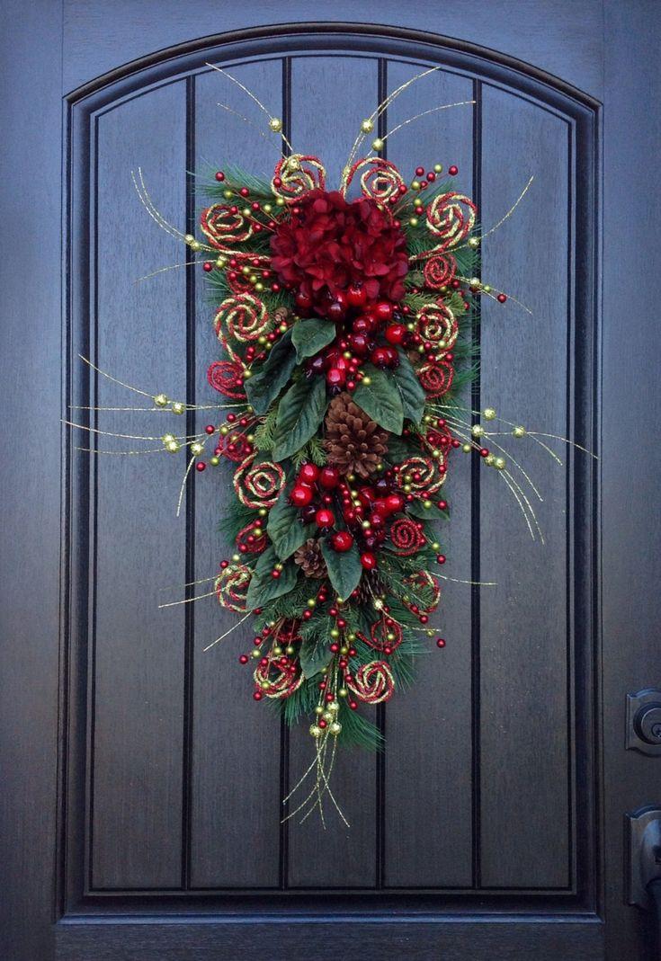 Christmas Wreath-Winter Wreath- Holiday Decor- Vertical- Teardrop Wreath- Door Swag Decor-Holiday Season-Swirls by AnExtraordinaryGift on Etsy