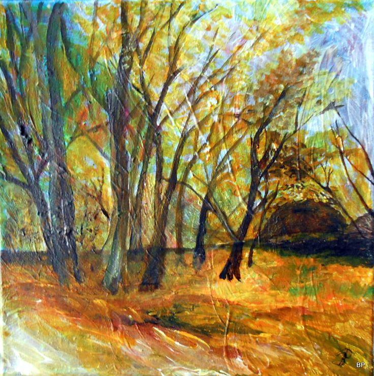 Efterår skoven træer og stærke farver