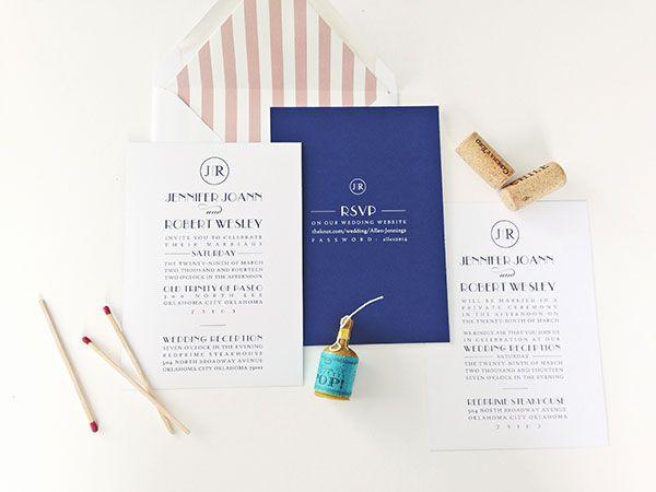 a modern navy + blush wedding invitation — m.press cards
