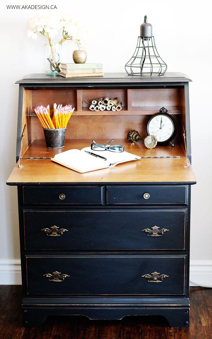 Painted Secretary Desk in Fusion Mineral Paint's Coal Black - http://akadesign.ca/painted-secretary-desk/