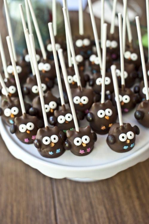 くりくりおめめ: Idea, Recipe, Owl Cake Pops, Food, Owl Cakepops, Owl Pop, Owl Cakes, Dessert, Baby Shower