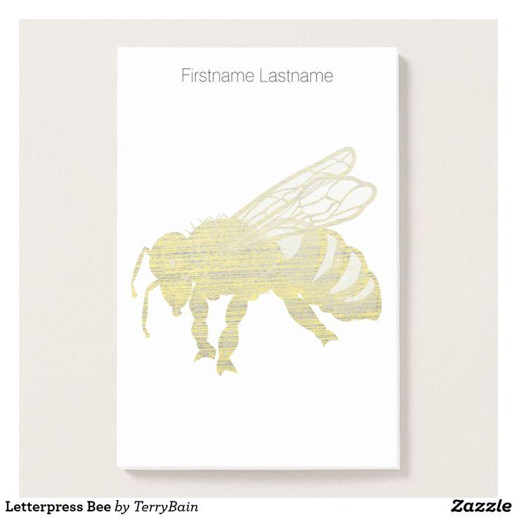 Letterpress Bee Post-it Notes