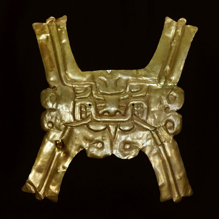 Gold Pectoral with Zoomorphic Face, c. 500 B.C., gold, Chavin, North coast, Peru