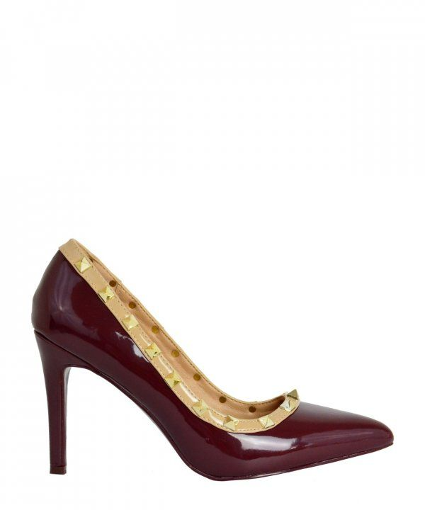 Γυναικείες μυτερές λουστρίνι γόβες μπορντό με τρουξ 6075W #torouxo #γυναικειαπαπουτσια