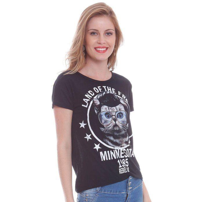 Blusa feminina com silk gato | Camiseteca