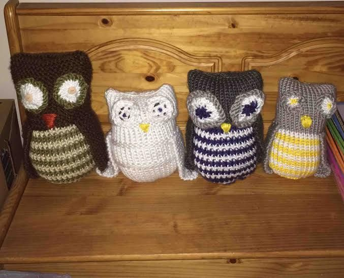 Loom knitted owls by Linda