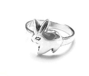 Silver Bunny Child's Ring - Easter Bunny Jewelry