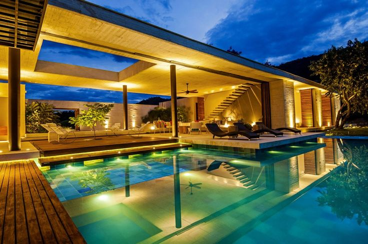 Cozy Patio And Infinity Pool Also Open Plan Living Room Interior