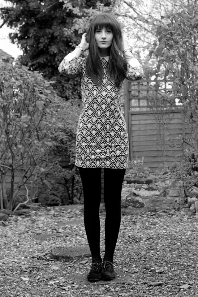 Wonderful You, black and white, dress, long hair, bangs, fringe, hairstyle, fashion, spring, collar dress, pattern, style