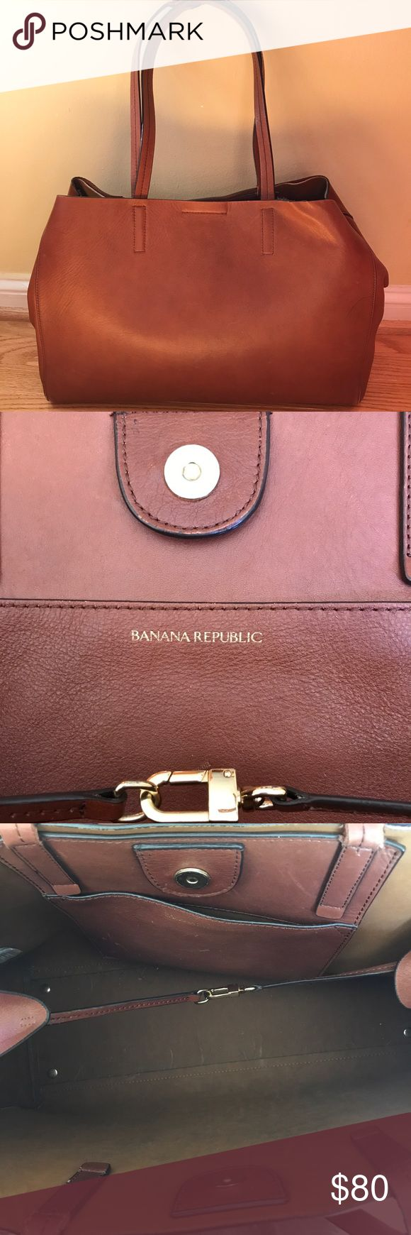 Banana Republic Brown Leather Large Tote Bag Large brown leather tote by Banana Republic. Very spacious with small inside pocket. You'll look great carrying your laptop to work with this bag and any other daily necessities! Still has that great leather smell to it :) See pictures for closer look/minor damages Banana Republic Bags Totes