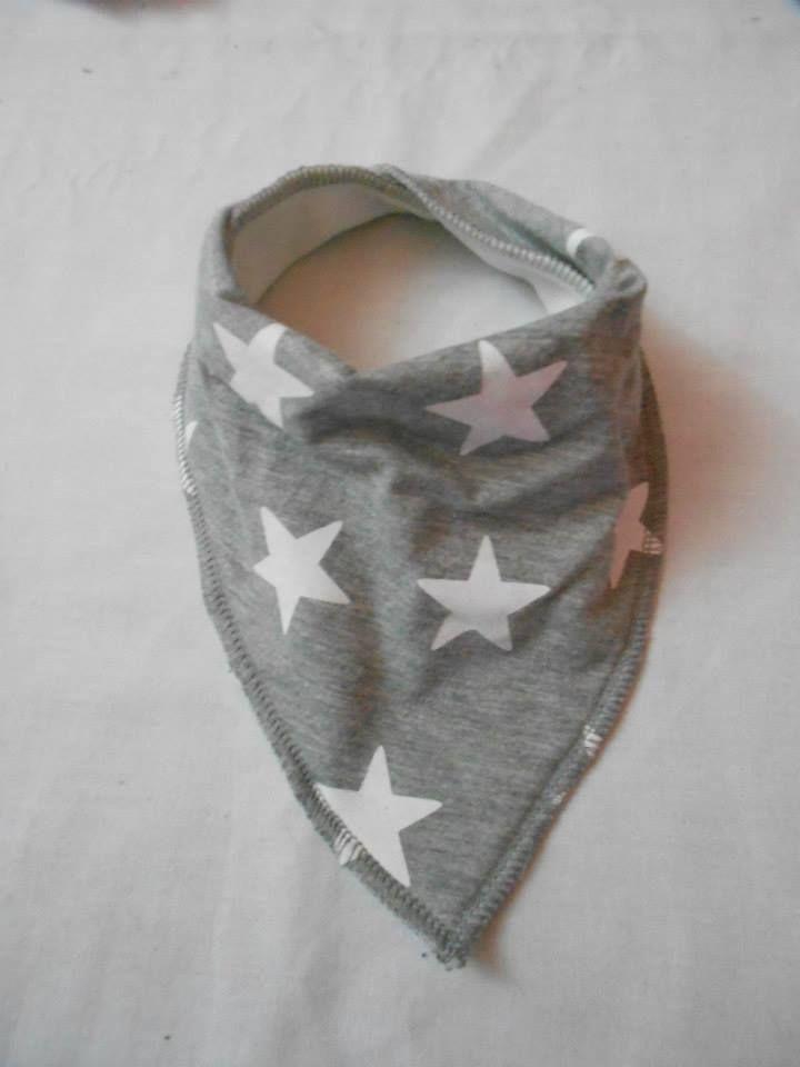 BEBE RUTH Bandana Bib - Grey with White Stars