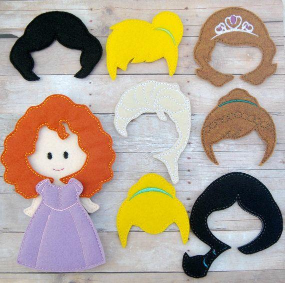 felt doll / flat dolls / princess dolls / felt dolls / felt toys / paper dolls / eco toys/ bald doll/ girl birthday/ girl toys/dress up