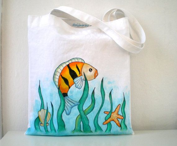 Hand Painted  Fish Tote Bag  Nautical Art Bag  by ShebboDesign, $27.00