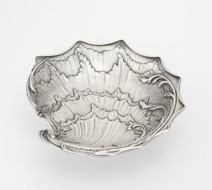A Fabergé silver tazza, Moscow, 1894 in rococo style with ruffled shell bowl, plain foot, marked on bowl and foot K. Fabergé in Cyrillic with Imperial warrant, 88 standard