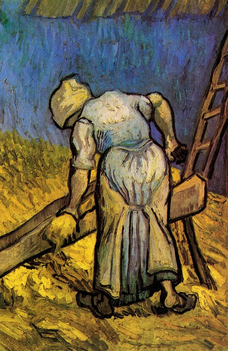 Peasant Woman Cutting Straw (after Millet) - Vincent van Gogh - Painted in Sept 1889 while in the Saint-Rémy Asylum - Current location: Van Gogh Museum, Amsterdam, Netherlands