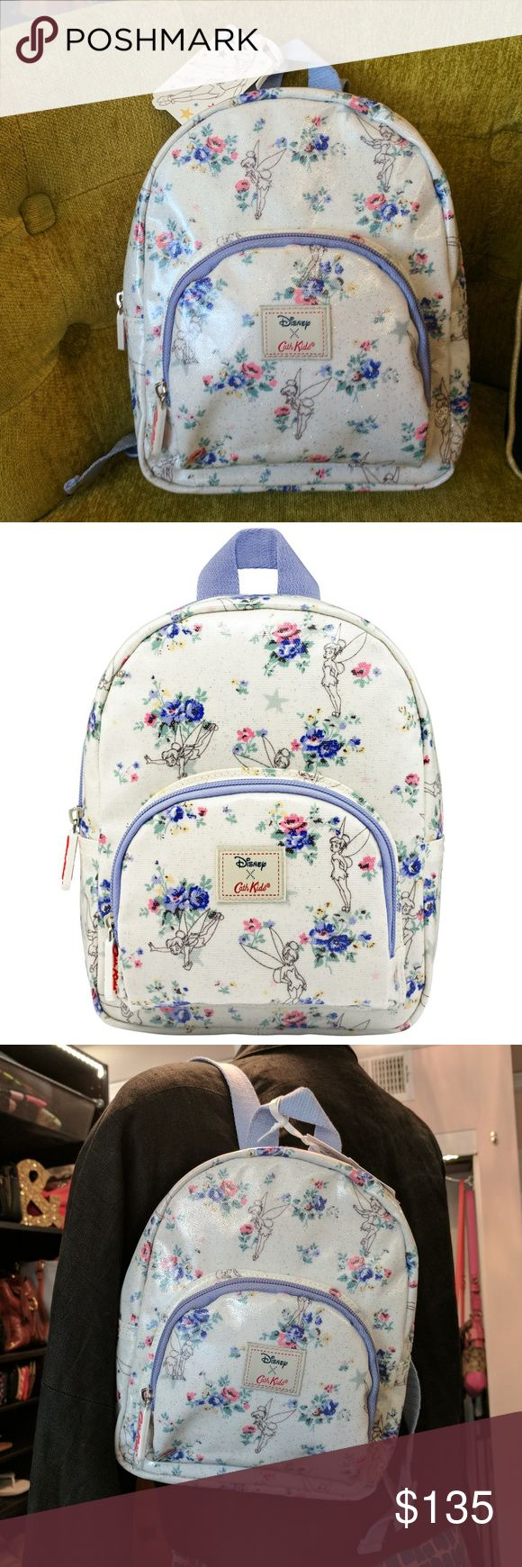 Cath Kidston Disney Tinker Bell Mini Backpack Cath Kidston Disney Peter Pan TINKER BELL KIDS GLITTER MINI RUCKSACK 7.5 x 11 x 4.13 inches Front zip pocket 'This belongs to' window 100% Shiny Glitter Cotton Canvas Cotton canvas lined Adjustable webbing straps Webbing handle for easy carrying Cath Kids rubber branded puller on zipper  Brand new with tags, purchased in London at Harrod's....you currently cannot get these online, they are out of stock. 2nd photo is a stock image, the rest are…