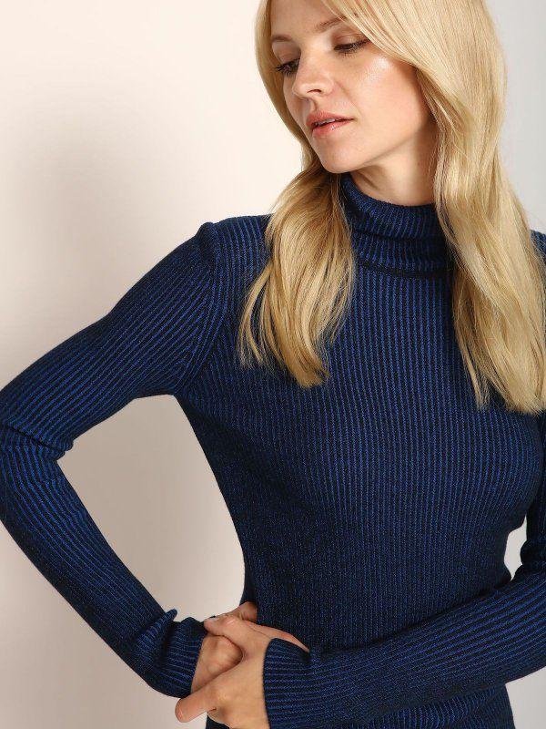 L2017 sweter golf długi rękaw damski   obcisły niebieski - SSW1990 TOP SECRET
