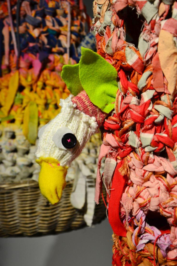 "An ""inhabitant"" in one nest ( in Art Museo of Sinkka, Kerava Finland) made by student about 8 year. There were few art workshops to the students in the Exhibition Näkyväksi neulottu 2016-17. Design Annukka Mikkola"