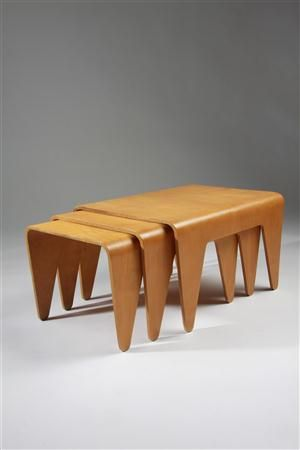 Nest of tables, designed by Marcel Breuer for Isokon, England. 1936.