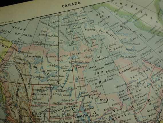 Antique map of Canada 1902 original old print by DecorativePrints