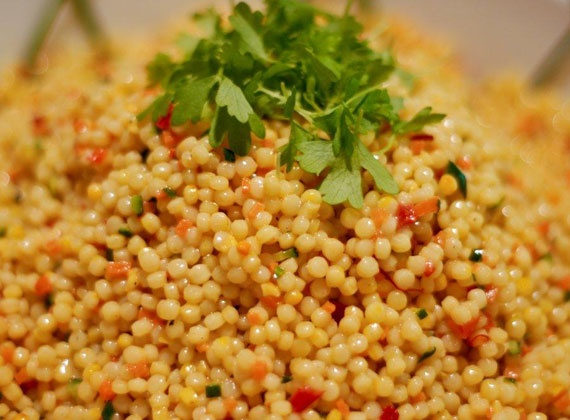 Saffron Coucous with Manicured Summer Vegetables | @Omecaterer #njcatering #nycatering #caterersnj | Ome Caterers Catering NJ NY CT | Wedding Reception Ideas Decorations, Bat Mitzvahs, Charity Golf Outing, Fundraising, Corporate, Event Planner