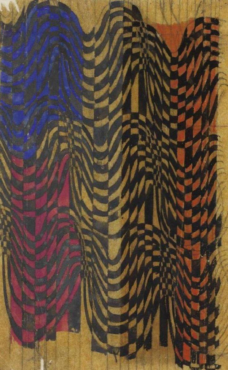 Charles Rennie Mackintosh - Textile design: stripes and checks: purple, blue and orange