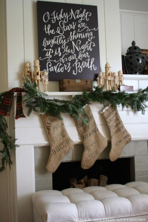 """love love LOVE the chalkboard """"Oh Holy Night"""" over the mantle. A must for our 1st Christmas in our new home!"""