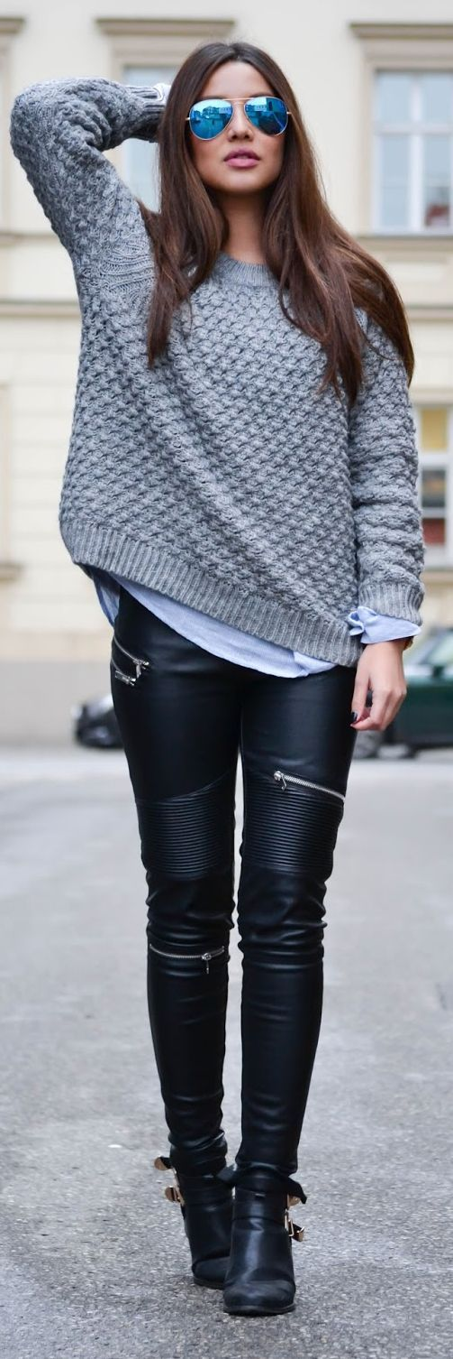 Grey waffle knit sweater and moto zip detail leather skinny jeans