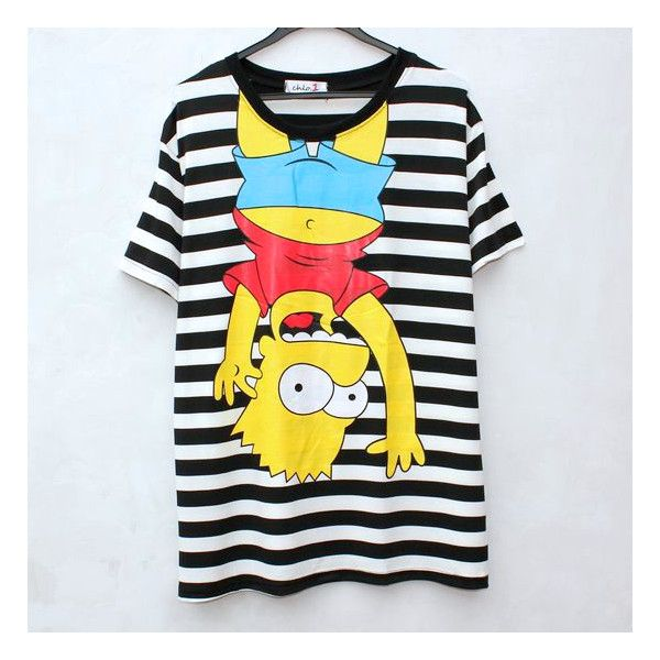 Striped Bart Simpson Shirt (€25) ❤ liked on Polyvore featuring tops, striped shirt, striped top, bart simpson shirt, stripe top and shirt top