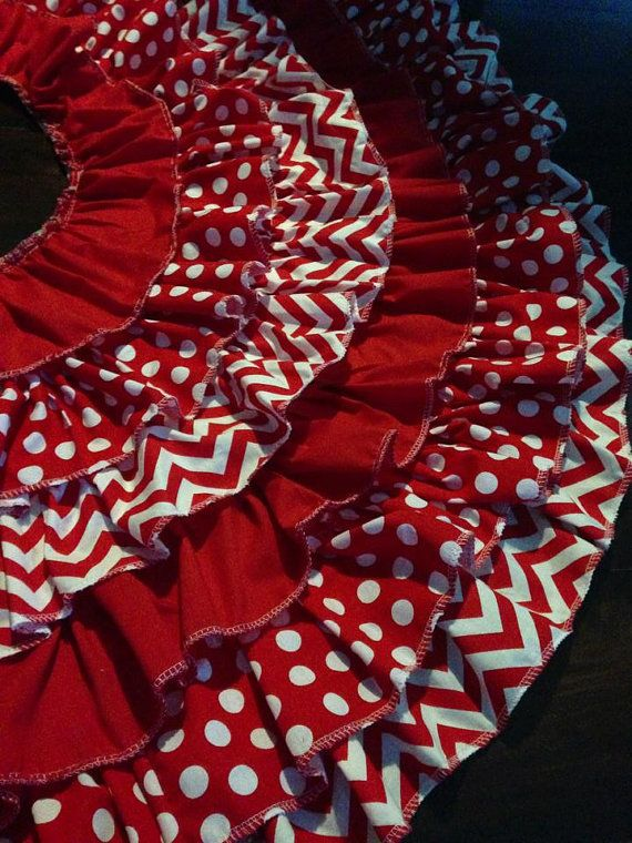 Ruffle Christmas Tree Skirt Red Chevron and red Polka dots