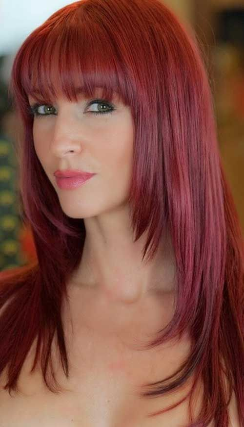 Cranberry Layered Long Hair