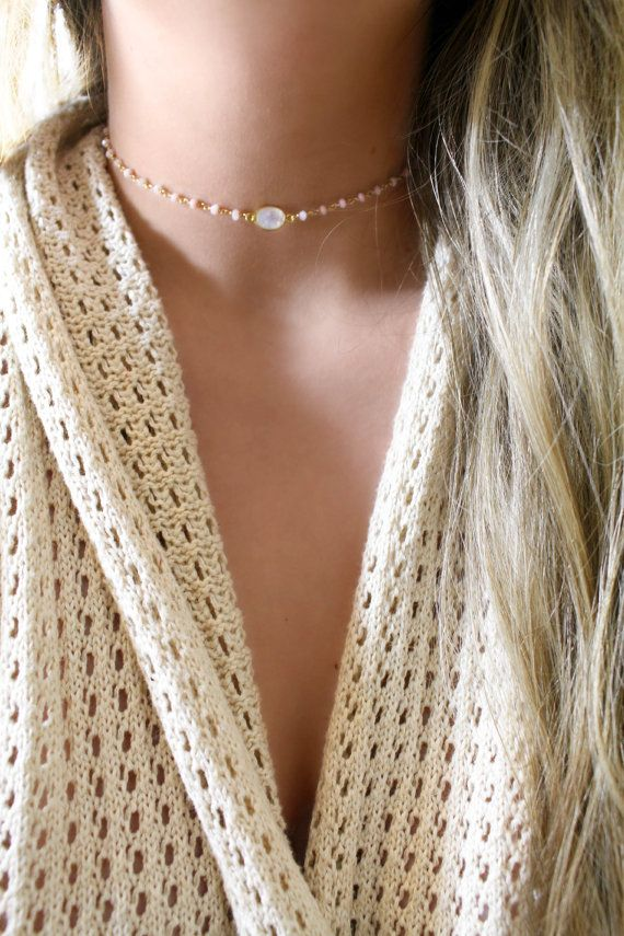 14k Gold Filled Pink Opal Moonstone Choker, Dainty, Gemstone Necklace, Bohemian, Layer, Adjustable, Boho, Fall Jewelry, Opals, Delicate, Ohm