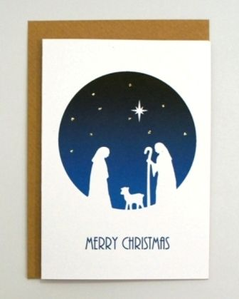 Traditional Nativity Scene Shepherds Christmas Card Hand ...