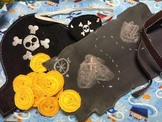 Pirate Set with Chalkboard Map by RosieKEmbroidery on Etsy. Draw your own map on the chalkboard map.