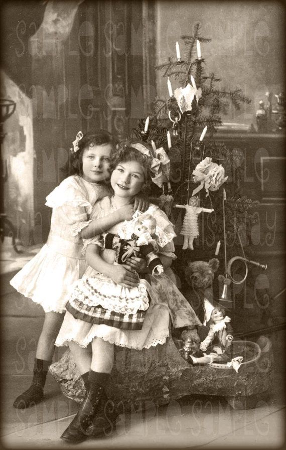Christmas, Sisters and Tree, Toys, Teddy Bear - Instant Digital Download Antique  French Postcard early 1900's - Scan, Gift Tag