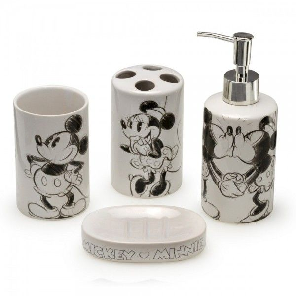 Kit de Cerâmica para Banheiro Mickey e Minnie Namorados - Loja Disney