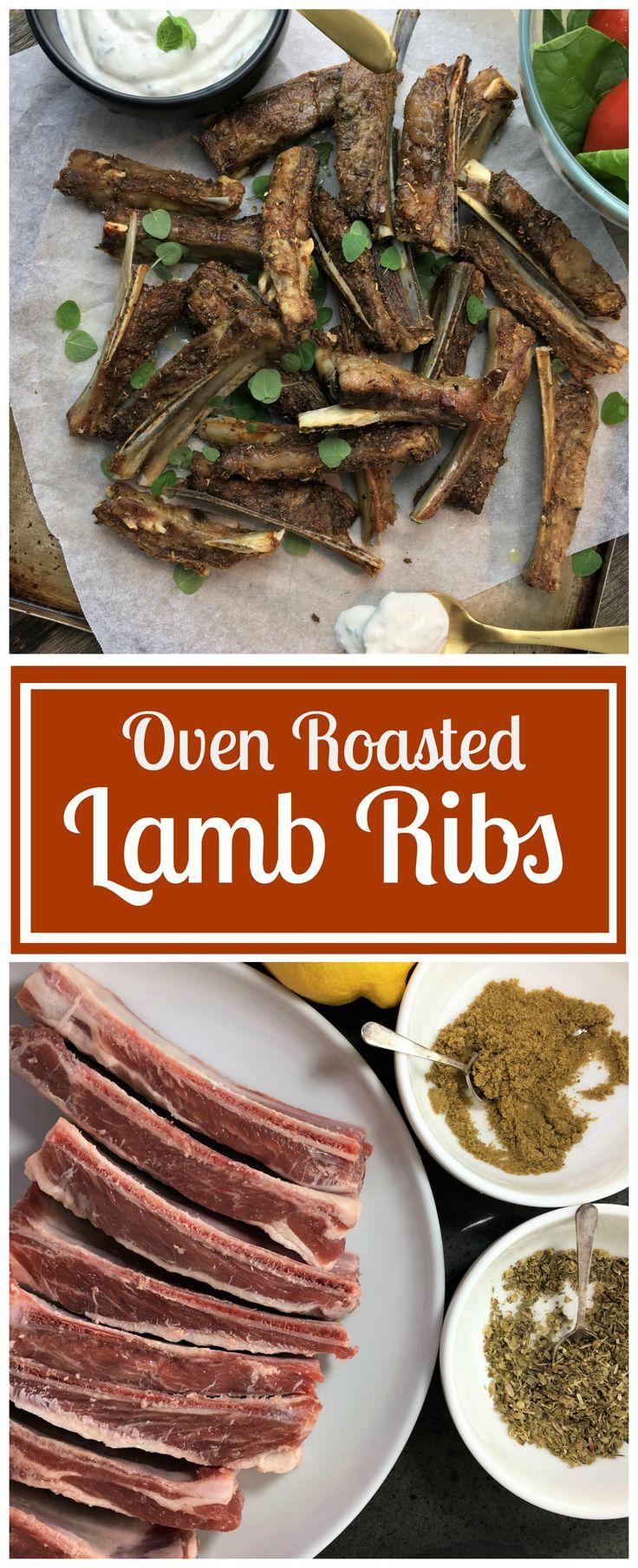 Oven roasted lamb ribs with yoghurt mint & garlic sauce. Easy oven baked lamb, so moist & tender.