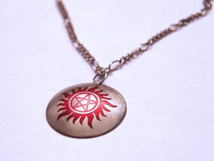 Supernatural Anti-Possession Pendant | metal etching, colored using Alcohol inks