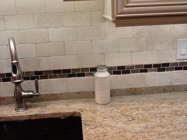 Subway Tile And Strip Of Mosaic On Colonial Cream Granite