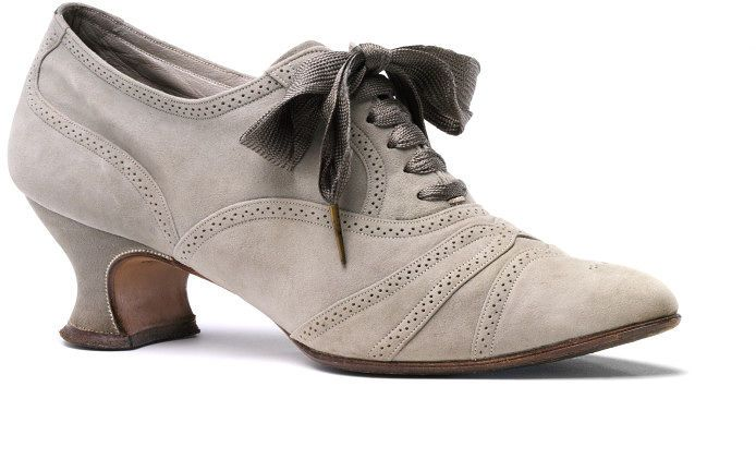 1910-1914, England - Shoe by Alan McAfee - Sueded, silk taffeta