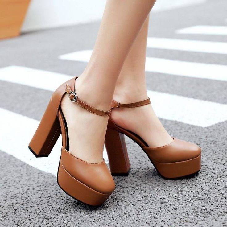 Women's Ankle Straps Platform Sandals High Heels Shoes 3027