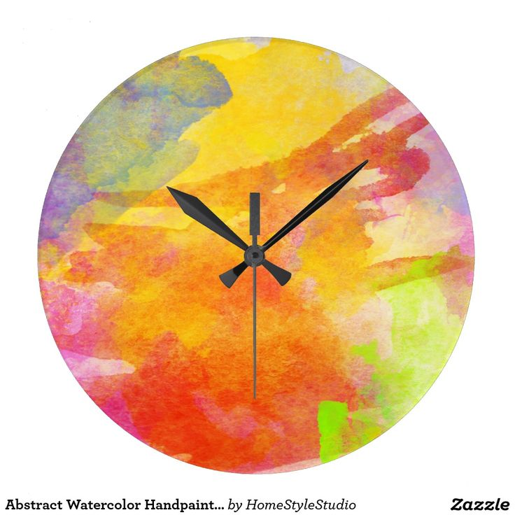 Abstract Watercolor Handpainted Modern Abstract Large Clock