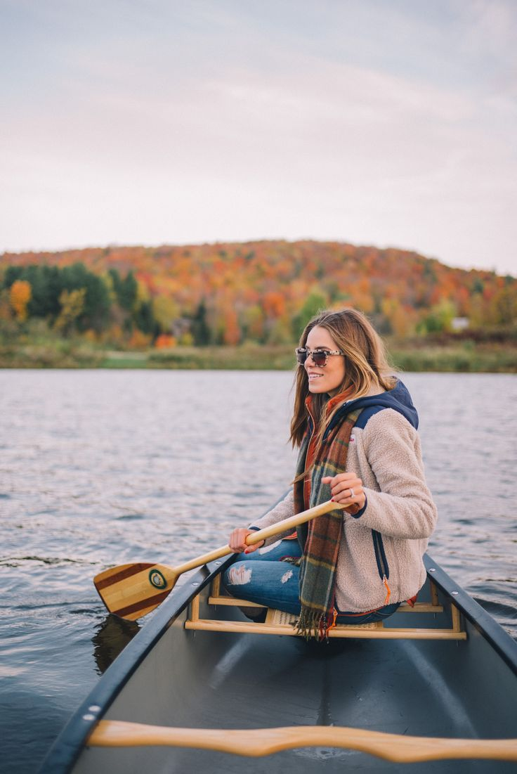 Gal Meets Glam Morning Canoe On Blueberry Lake - Penfield jacket, J.Crew vest, J.Crew turtleneck & Current Elliott jeans